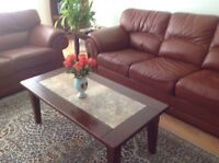 Coffee Table Solid Wood  stone inlay top