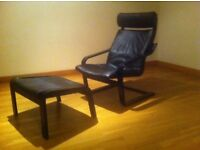 Black Leather And Mahogany Wood Armchair And Foot Stole