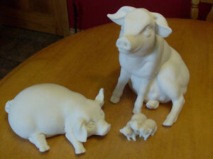 "3 high-quality, very heavy 8""  marble pigs-REDUCED"