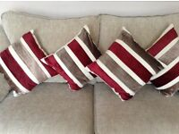 4 x burgundy and brown striped cushions