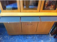 Compact oak wall unit / display cabinet: free Glasgow delivery