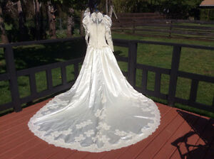 Victorian style wedding dress & veil by Alfred Angelo