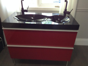 Bold red and black double vanity