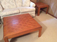 Oak parquet coffee table and matching end table set