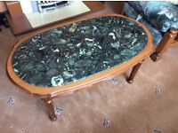 Oak / marble coffee table