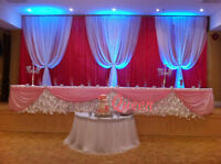 Wedding Backdrop, Centrepieces, Table Cloth, Chair Cover...