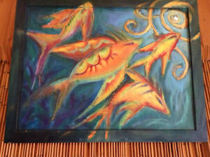ELISE BERARD Fish Poissons Painting Toile MULTIMEDIA Quebec