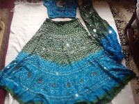Hindo ladies suit skirt & blouse& scarf cotton blue used £7