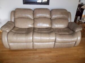 Beige Leather Reclining Couch
