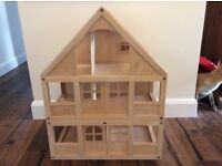 Wooden dolls house and loads of furniture and figures