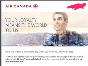 Air Canada Promo code (10% off anywhere)