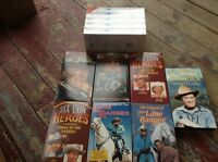 SEVEN WESTERN VHS TAPES PLUS A FIVE PACK OF NEW VHS TAPES