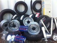 Trailer parts wheels brakes wheels hubs jockey wheel bearings cables