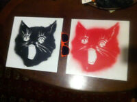 Two Tiles with cat faces like Banksy style 32cmx32cm