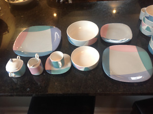 "MIKASA ""Video"" dinnerware made in 80s Japan, 43 pieces"