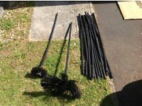 Chimney sweeps rod and brushes.