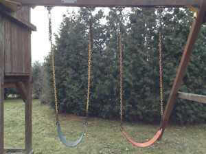Swings, slide, and gymastics rings NEW PRICE