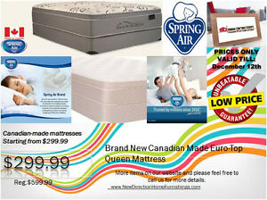 ◆Brand New Canadian-made Spring Air Queen Mattress W/Euro Top@ND