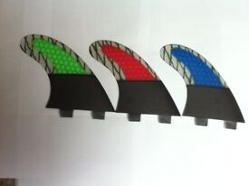 SURFBOARD FINS Honeycomb FCS fit Surf Fin, G7/M7 Thruster Set Of 3 Hexcore Red Blue or Green Large