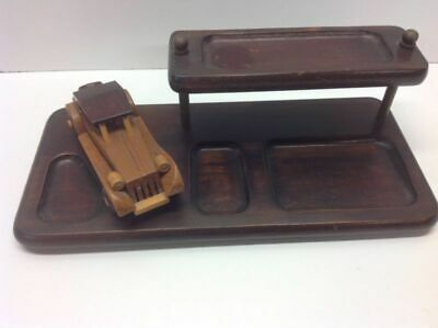 Vintage Wooden Desk Set With Wooden Car Desktop Office Organizer N1