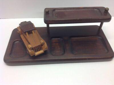 Vintage Wooden Desk Set With Wooden Car Desktop Office Organizer N1