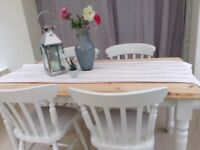 Painted Pine Shabby Chic Dining Table and Chairs