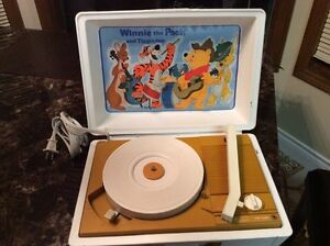 Retro record player with vintage records
