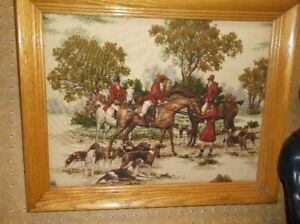 quilted hunting scene framed