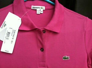 BNWT WOMENS LACOSTE TOP, POLO, SIZE 4, SIZE 36, WHITE, PINK