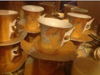 16 pieces coffee cups and plates yamasen 24KT gold porcelain £30
