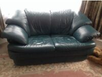 2 seater green leather couch
