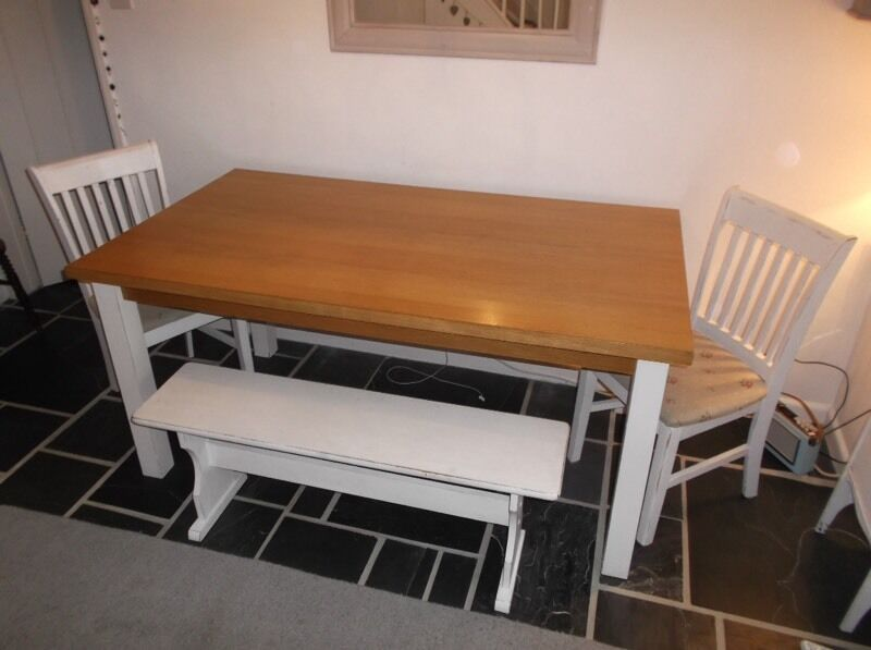 Dining Table, chairs and benchin Taunton, SomersetGumtree - Dining Table 5ft 3in x 3ft, 2 Chairs and a Bench Seat. Legs of table can be removed. Must be collected, will not deliver