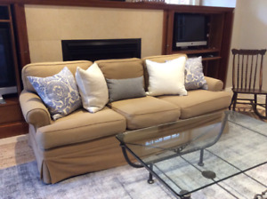 Designer couch with wool slipcover and hardwood frame