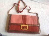 Ladies shoulder bag pink-brown used £2