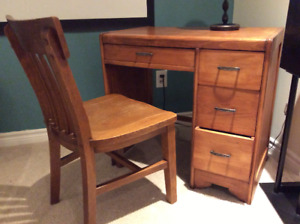 Vintage wood student desk and chair
