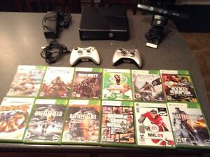Xbox 360 w/Kinect 2 wireless controllers and 12 Games