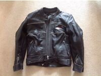 SIZE 10 LADIES RIOSSI BLACK LEATHER MOTORBIKE JACKET WITH BODY ARMOUR EXCELLENT CONDITION