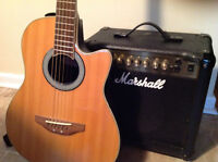 Applause guitar with Marshall amplifier