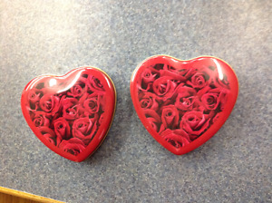 Two Empty Heart Shaped Tins
