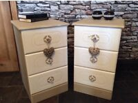 Bedside cabinets hand painted shabby chic