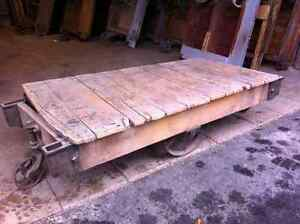 Antique factory cart coffee tables for sale