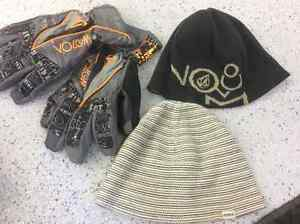 Volcom hat, volcom gloves, American eagle hat