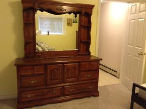 Bureau and dresser with mirror