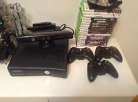 XBOX 360(250gb)--kinect--3 controllers--17 GAMES
