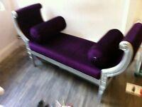 Beautiful Silver Chaise Sofa / Lounge Chair