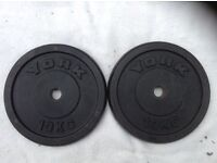 14 x 10kg York Standard Cast Iron Weights