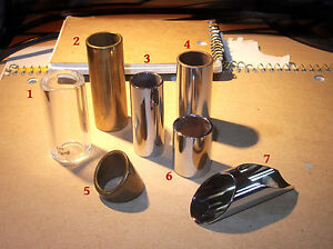 Guitar Slides - a variety, brass, glass, steel. @ $3, $5 and $8