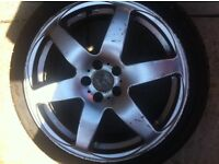 """Set of 4, 5 stud alloy wheels, 17"""" low profile tyres"""