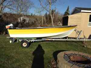 14 foot fiberglass boat motor and trailer