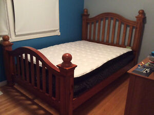 Solid Wood Double Bed Headboad/Footboard with wooden rails